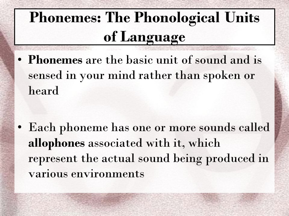 Phonemes: The Phonological Units of Language