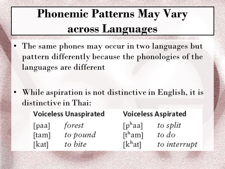 Phonemic Patterns May Vary across Languages