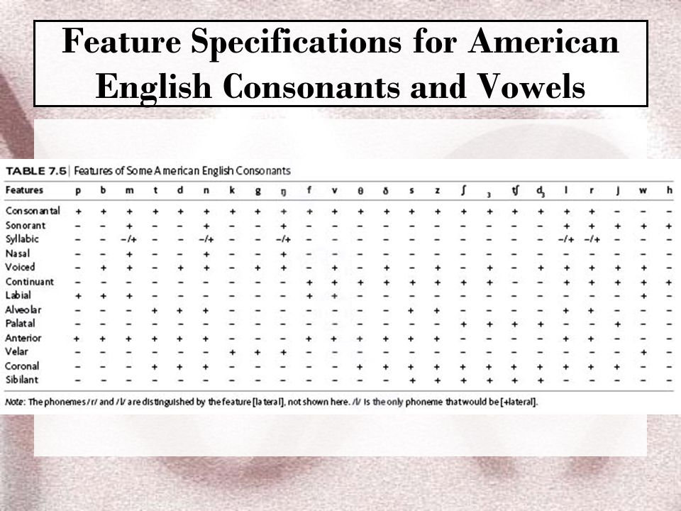 Feature Specifications for American English Consonants and Vowels