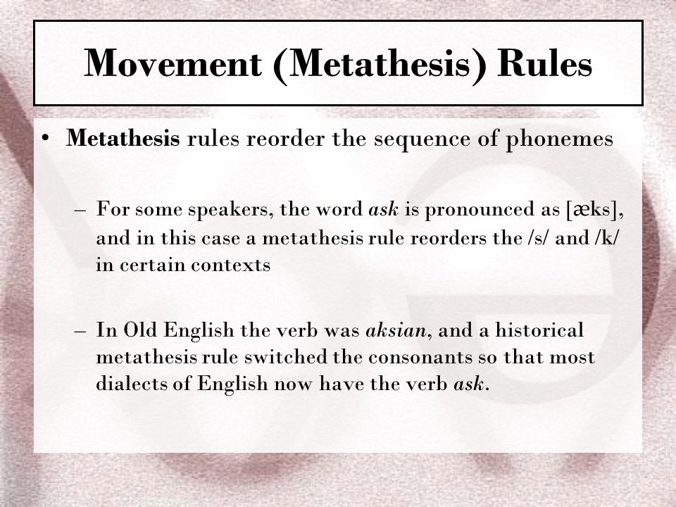 Movement (Metathesis) Rules