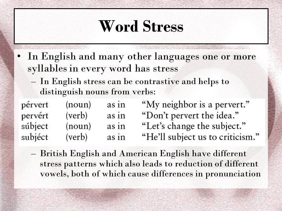 Word Stress In English and many other languages one or more syllables in every word has stress.