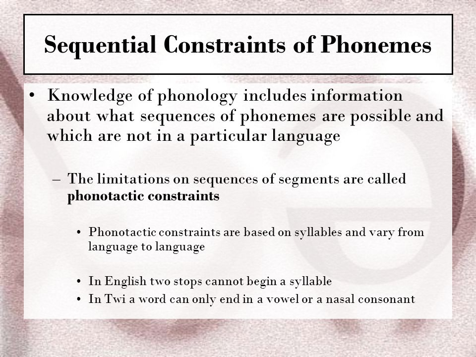 Sequential Constraints of Phonemes