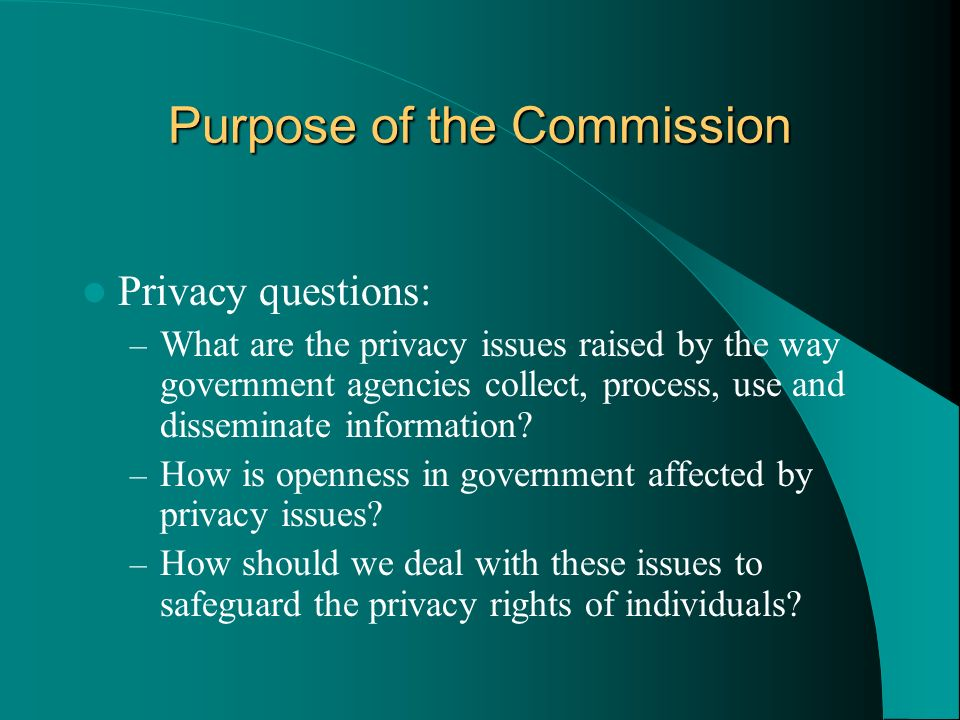 Purpose of the Commission