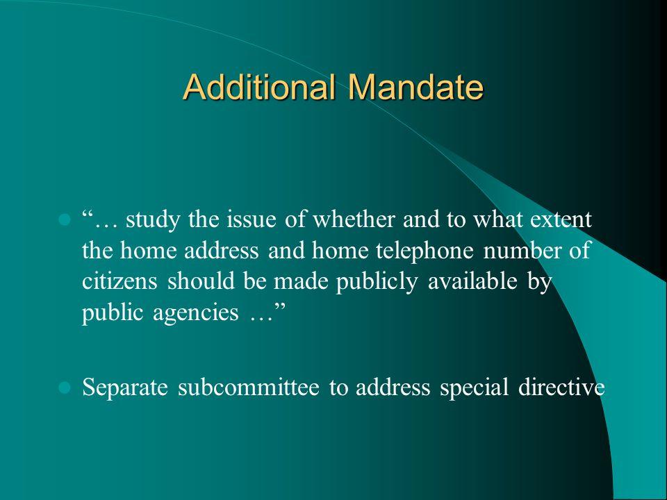 Additional Mandate
