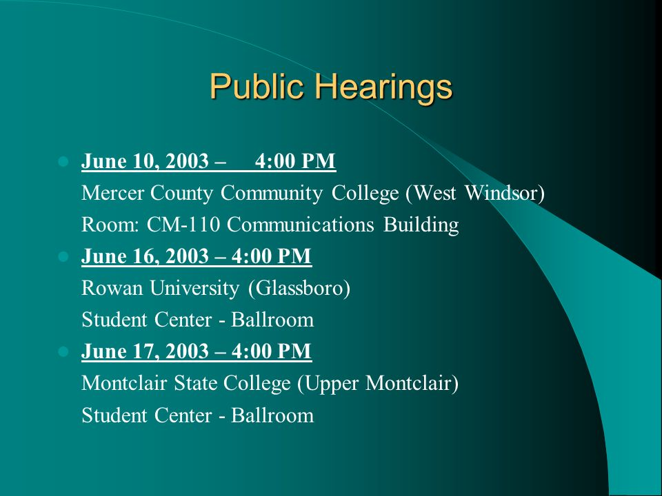 Public Hearings June 10, 2003 – 4:00 PM
