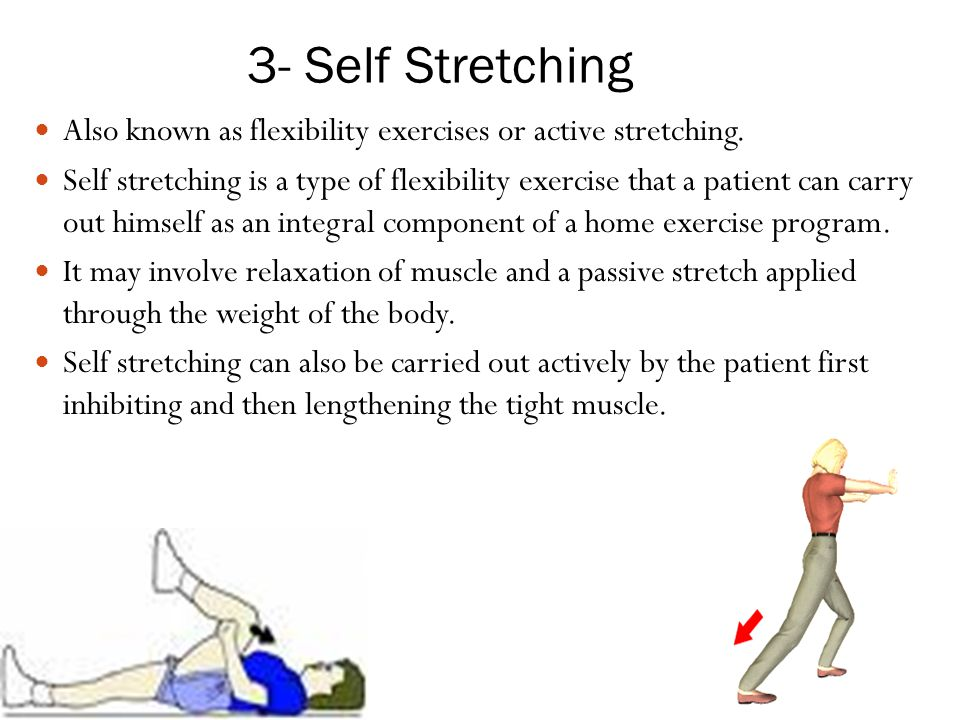 flexibility exercise and stretching passive stretching Passive stretching is also referred to as relaxed stretching, and as static-passive stretching another static stretch is the active stretch, where you actively hold the muscles in a stretched position a passive or static stretch is one where you gradually ease into the stretch position and hold it with some other part of your body, or with.