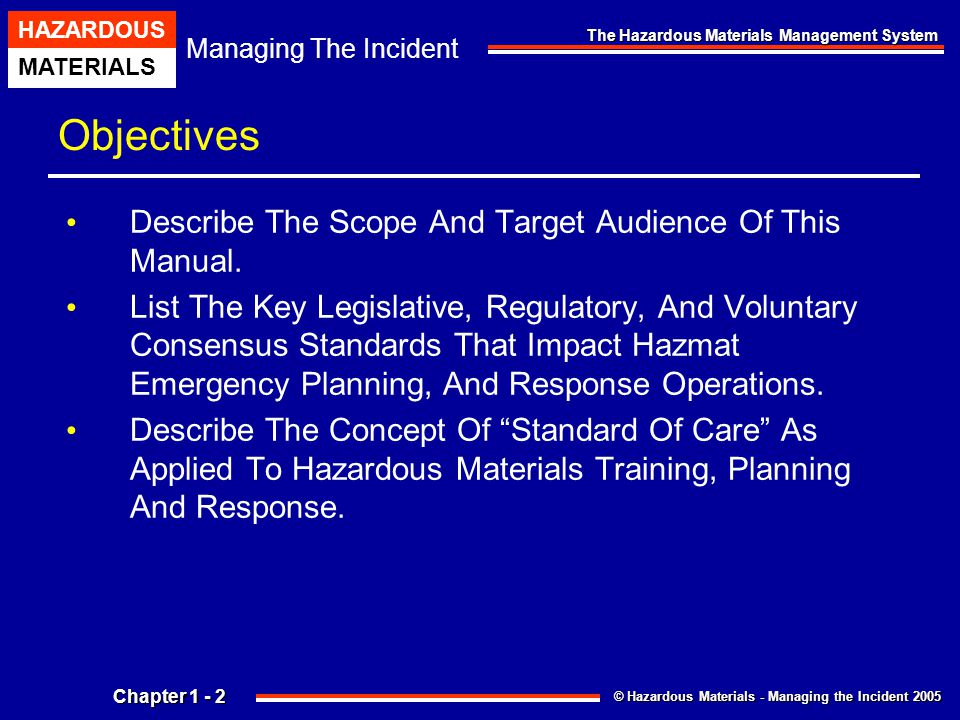 Chapter 1 the hazardous materials management system ppt download objectives describe the scope and target audience of this manual publicscrutiny Gallery