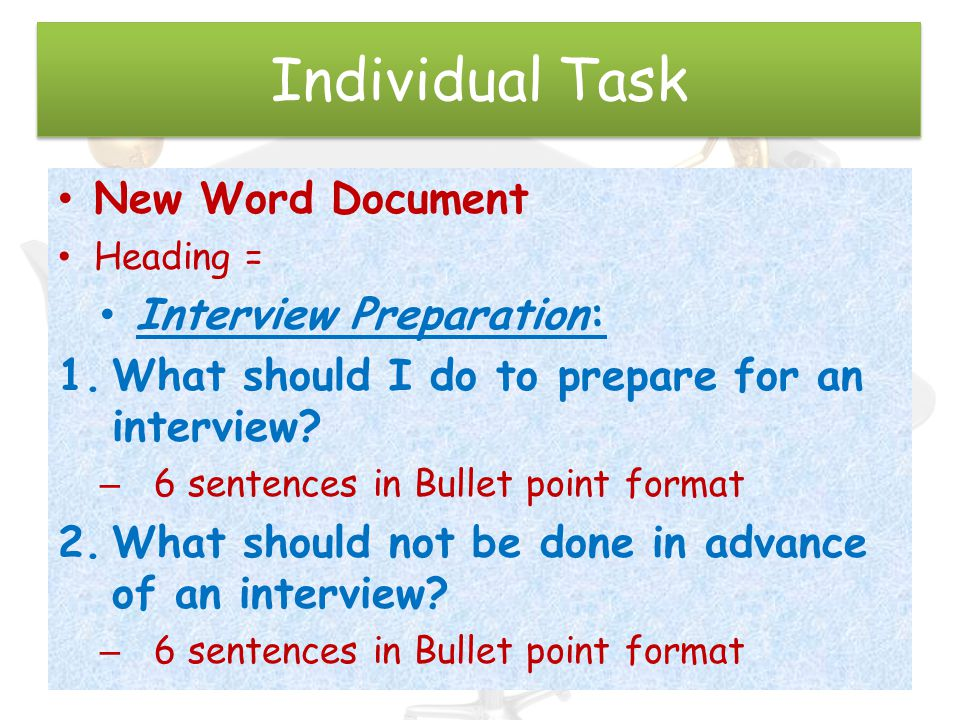 Individual Task New Word Document Interview Preparation: