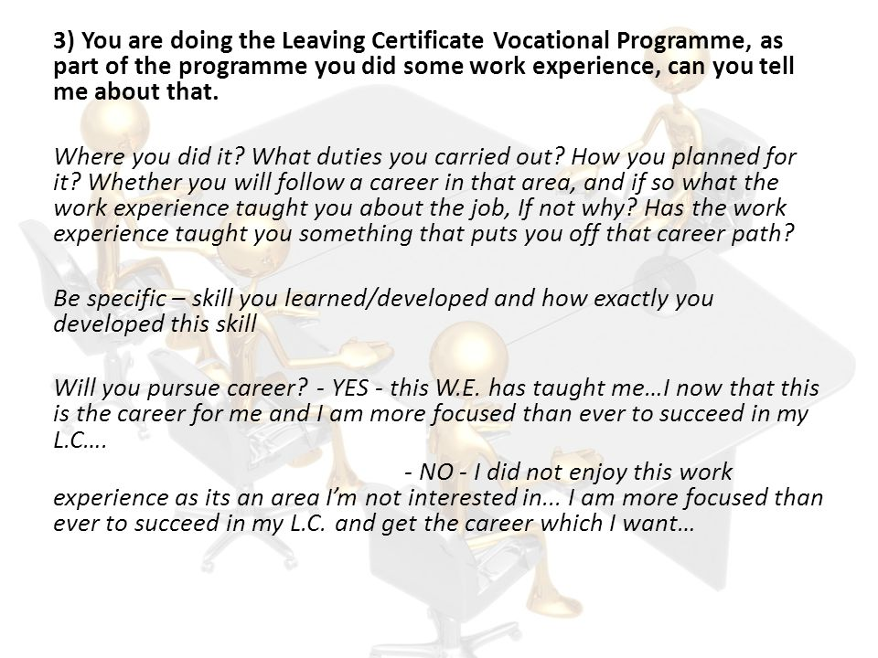3) You are doing the Leaving Certificate Vocational Programme, as part of the programme you did some work experience, can you tell me about that.
