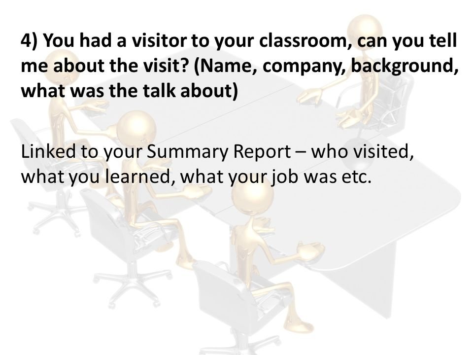 4) You had a visitor to your classroom, can you tell me about the visit (Name, company, background, what was the talk about)