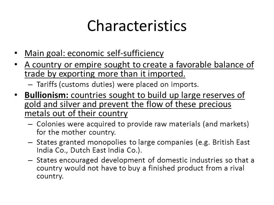 main characteristics of mercantilism