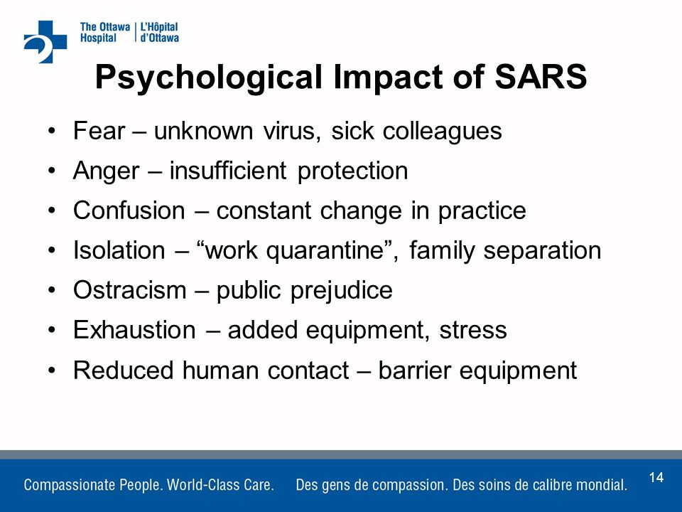 the impact of sars in the workplace Severe acute respiratory syndrome (sars) is the term being used to describe a new serious respiratory illness that emerged from south-east asia in 2003 sars has killed more than 770 people and infected over 8,000 worldwide since it surfaced in southern china late in 2002 four cases of probable.