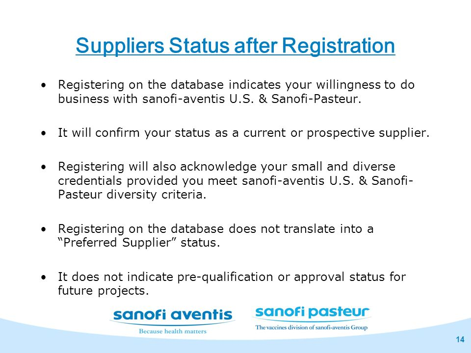 Suppliers Status after Registration