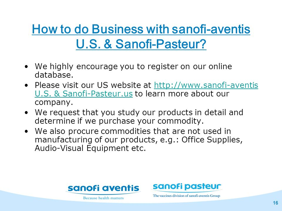 How to do Business with sanofi-aventis U.S. & Sanofi-Pasteur
