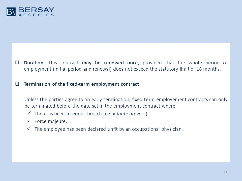 Duration: This Contract May Be Renewed Once, Provided That The Whole Period  Of Employment