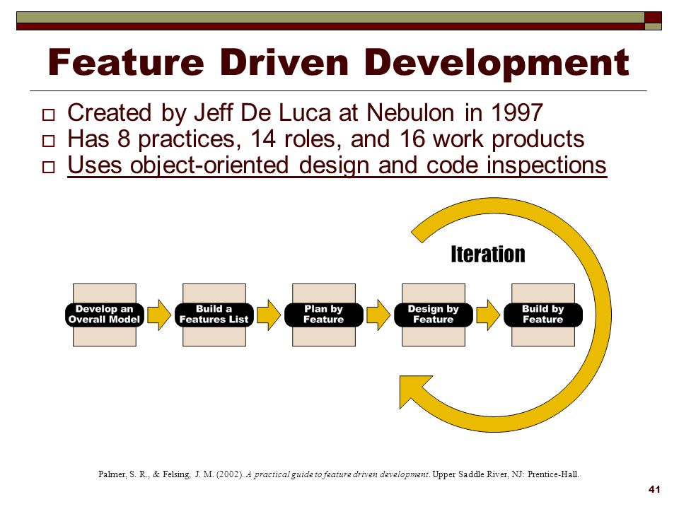 feature driven development We've talked about test driven development and behaviour driven development, so i figured, why not cover the feature driven development topic.