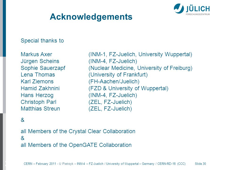 Acknowledgements 30 Special thanks to