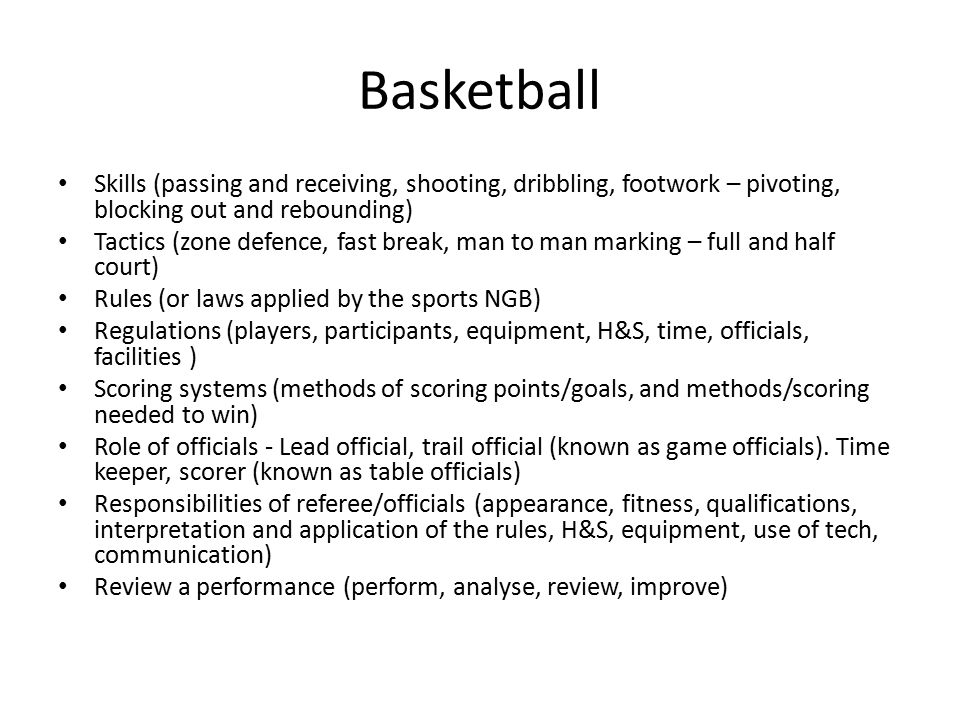 BTEC Sport Practical Unit: Basketball and Badminton