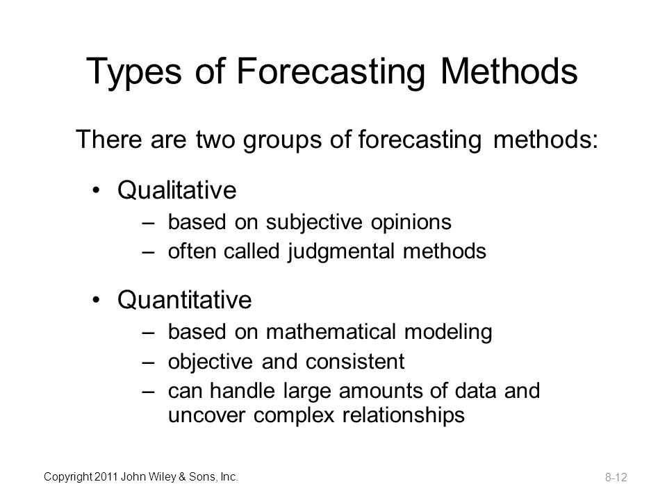 types of forecasting methods Sales forecasting: meaning, importance and methods article shared by: after reading this article you will learn about:- 1 meaning of sales forecasting 2 importance of sales forecasting 3 factors considered 4 types 5 methods 6 elements 7 procedure 8 selection 9 uses 10 statistical data 11 applications  in this method forecasting depends upon the salesman's estimation for their respective areas,.