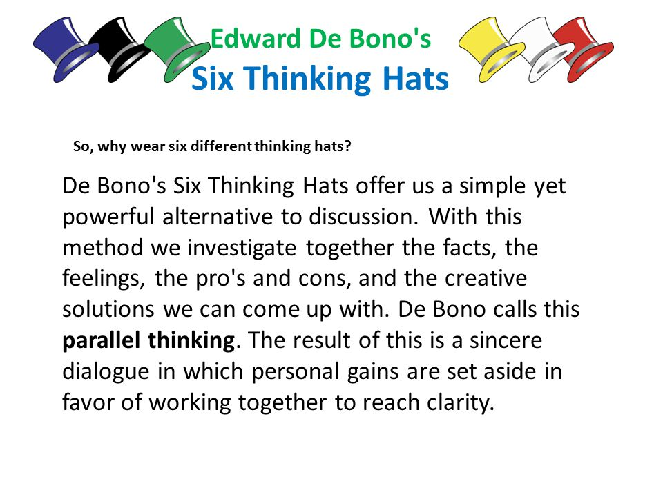 the powerful techniques of the six thinking hats When it's time to prepare a powerful powerpoint best six hat thinking powerpoint templates is de bono ideas meeting meeting tools six thinking hats techniques.