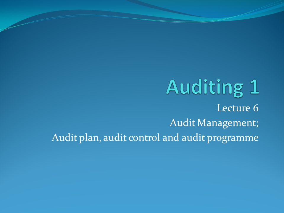 Auditing 1 Lecture 6 Audit Management;