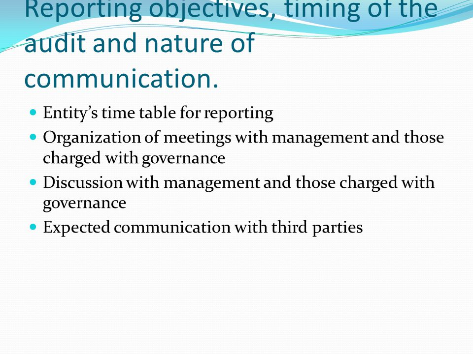 Reporting objectives, timing of the audit and nature of communication.