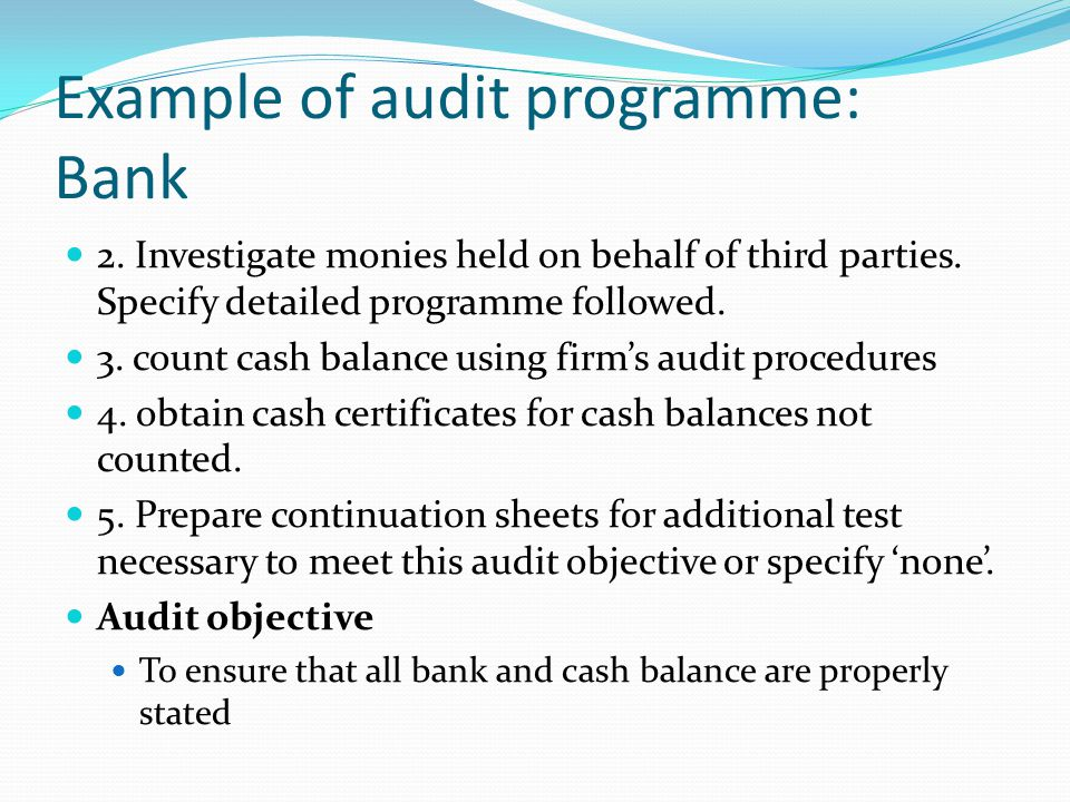 Example of audit programme: Bank