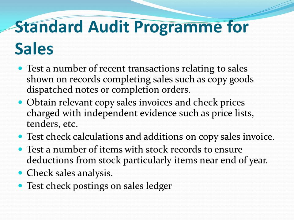 Standard Audit Programme for Sales