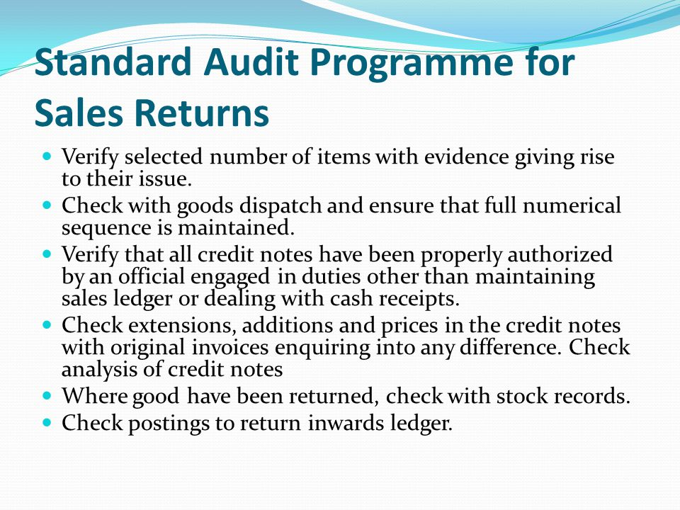 Standard Audit Programme for Sales Returns