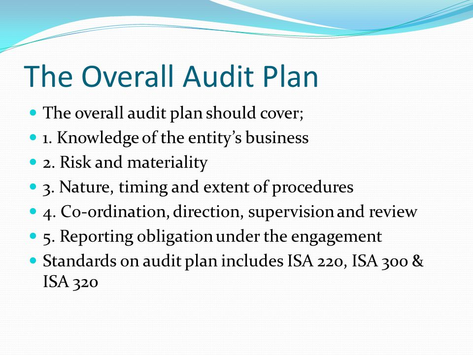 The Overall Audit Plan The overall audit plan should cover;