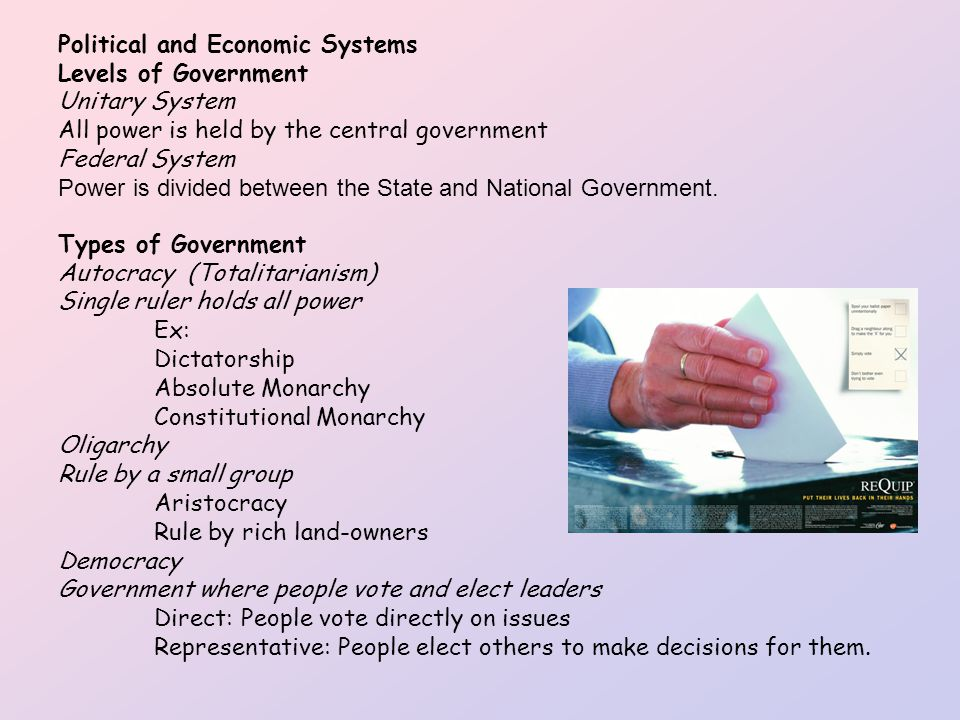 political and economic system Different economic systems around the world answer these questions in different ways the resources of an economic system are called factors of production because the economy needs them to produce goods and services.