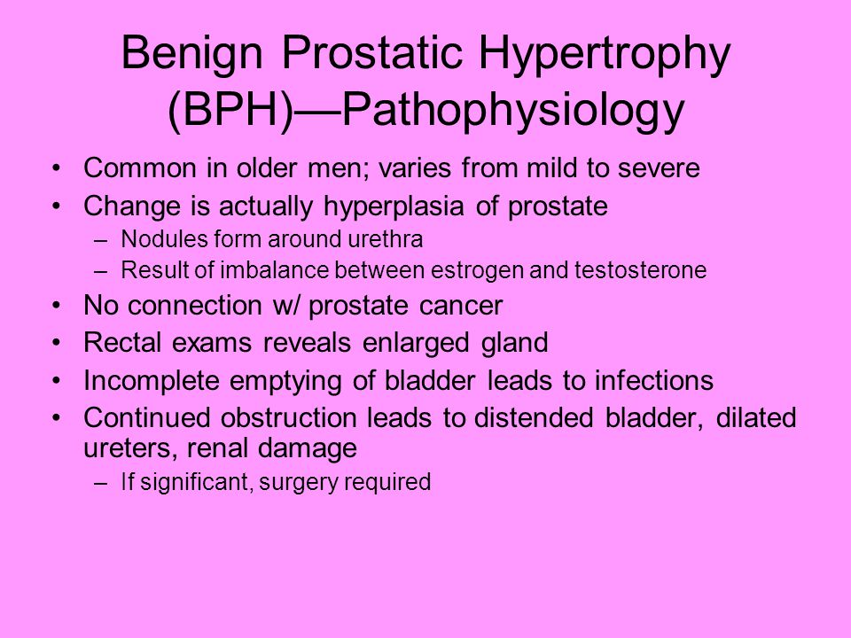 bph cancer topic Benign prostatic hyperplasia (bph) is a histologic diagnosis that refers to the proliferation of smooth muscle and epithelial cells within the prostatic transition zone 1 men are likely to develop bph as they age half of men ages 51 – 60 years old and 80 percent of men over 80 years old have.