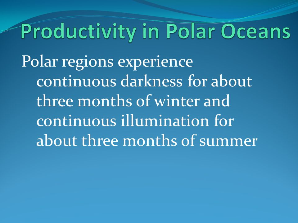 Productivity in Polar Oceans