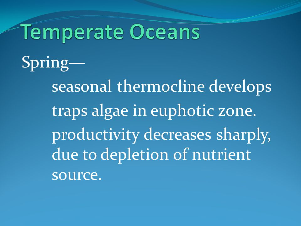 Temperate Oceans Spring— seasonal thermocline develops