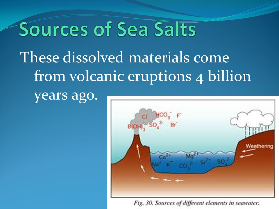 Sources of Sea Salts These dissolved materials come from volcanic eruptions 4 billion years ago.