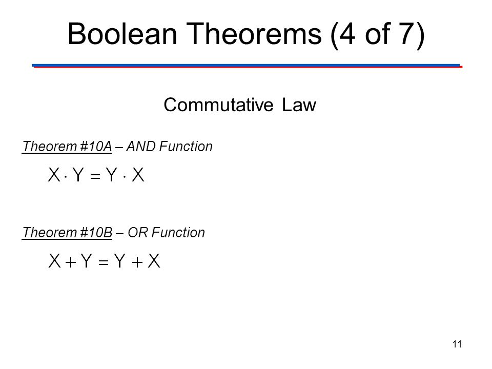Boolean Theorems (4 of 7) Commutative Law Theorem #10A – AND Function