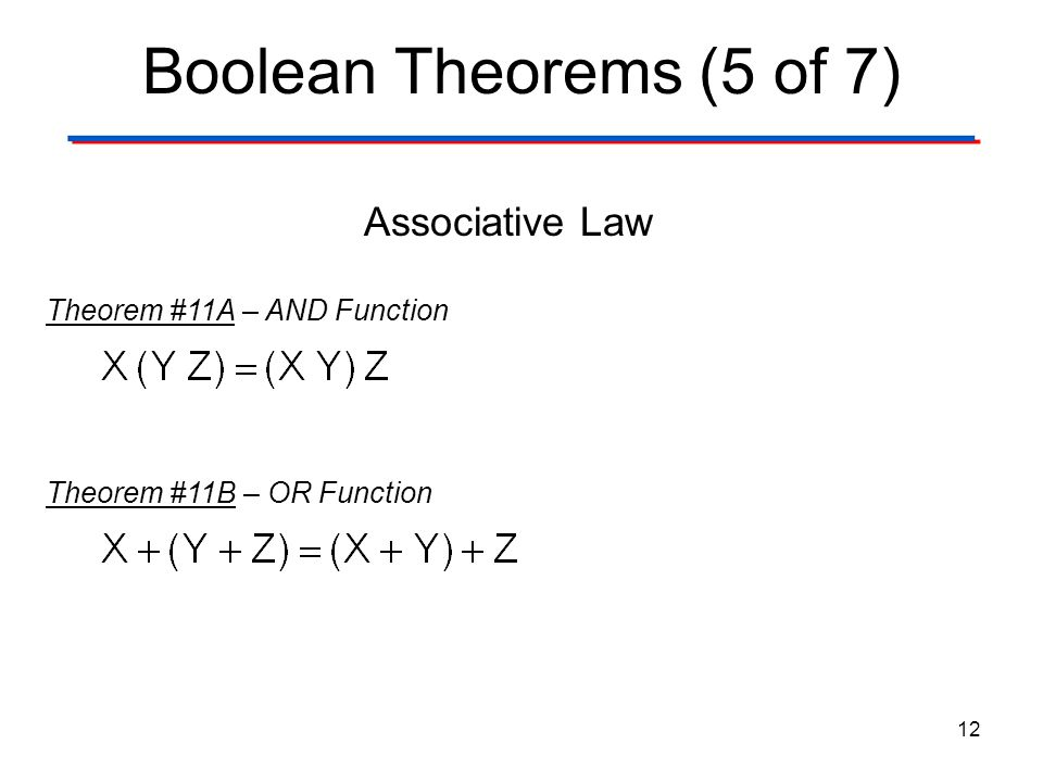 Boolean Theorems (5 of 7) Associative Law Theorem #11A – AND Function