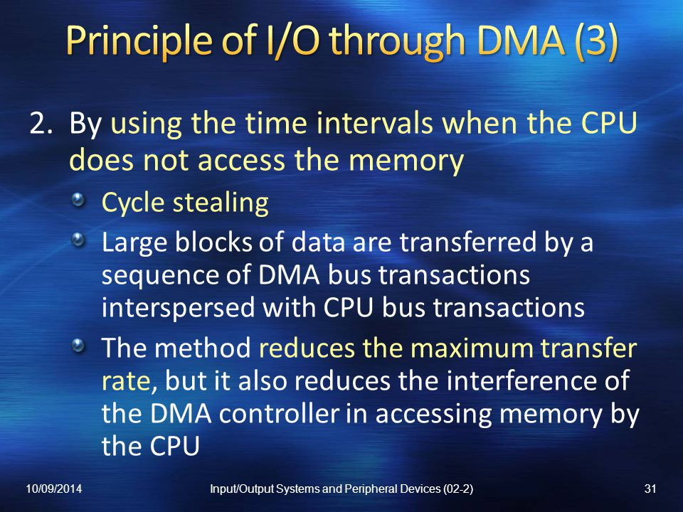 Principle of I/O through DMA (3)