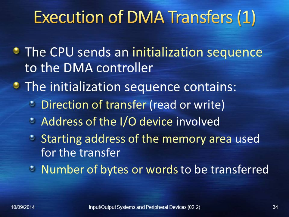 Execution of DMA Transfers (1)