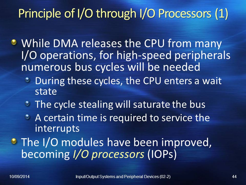 Principle of I/O through I/O Processors (1)