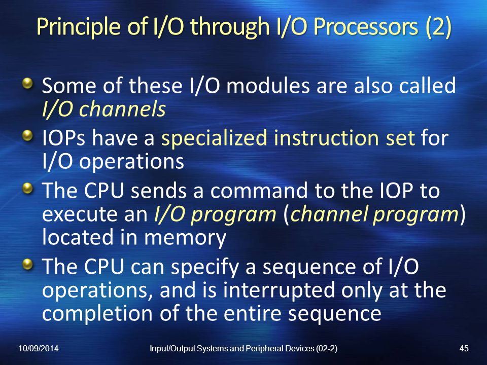 Principle of I/O through I/O Processors (2)