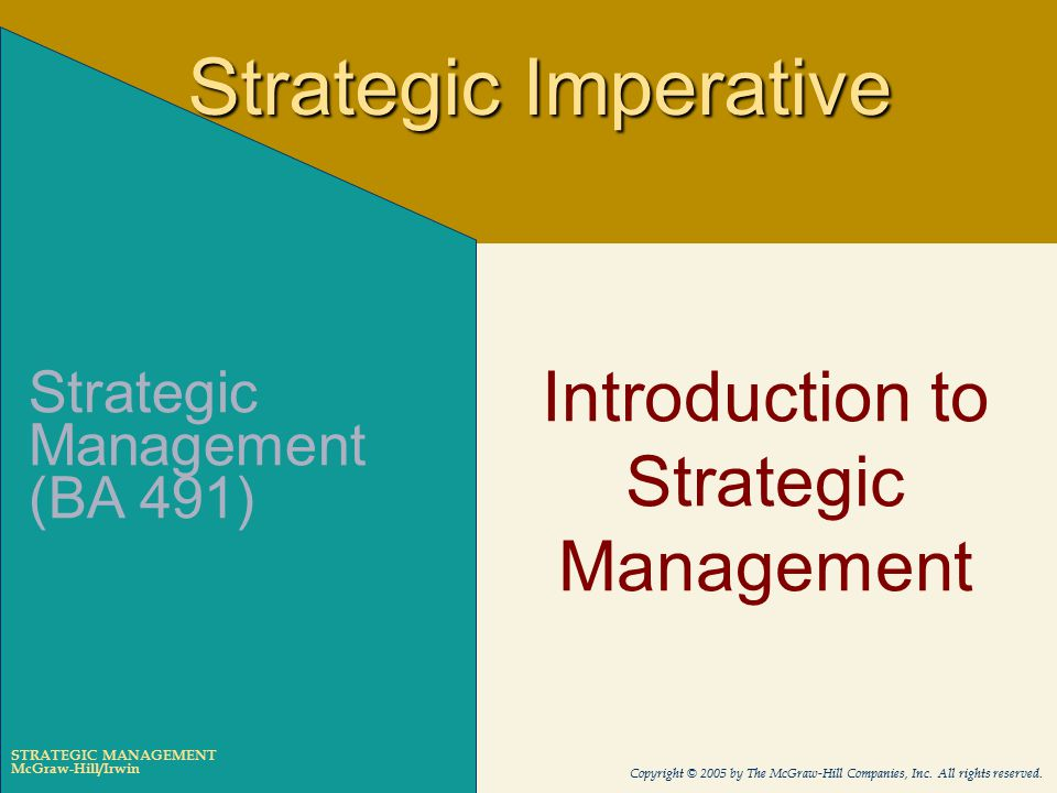 introduction to strategic management The strategic supply chain processes that management has to decide will cover the breadth of the supply chain, including product development and more.