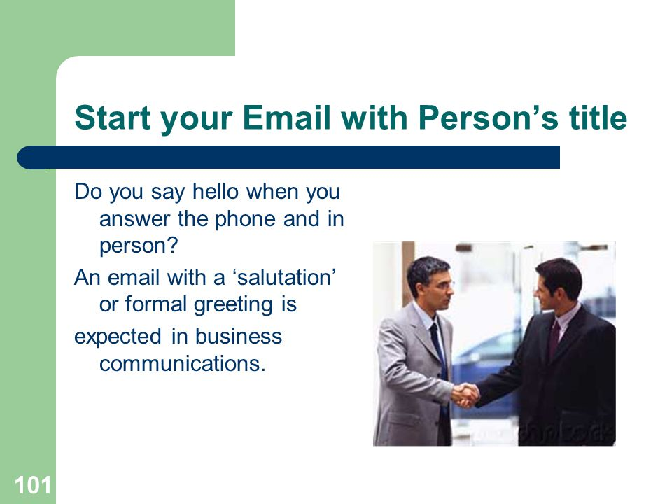 Start your Email with Person's title