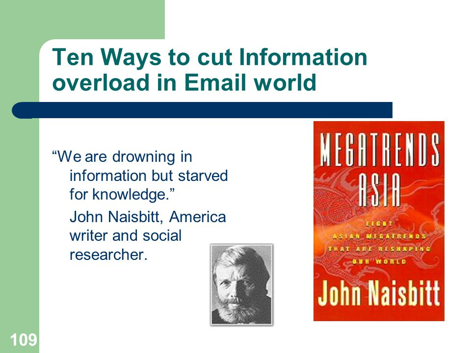 Ten Ways to cut Information overload in  world