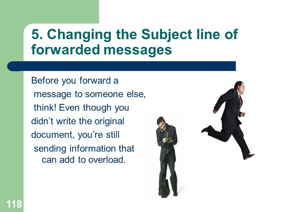 5. Changing the Subject line of forwarded messages