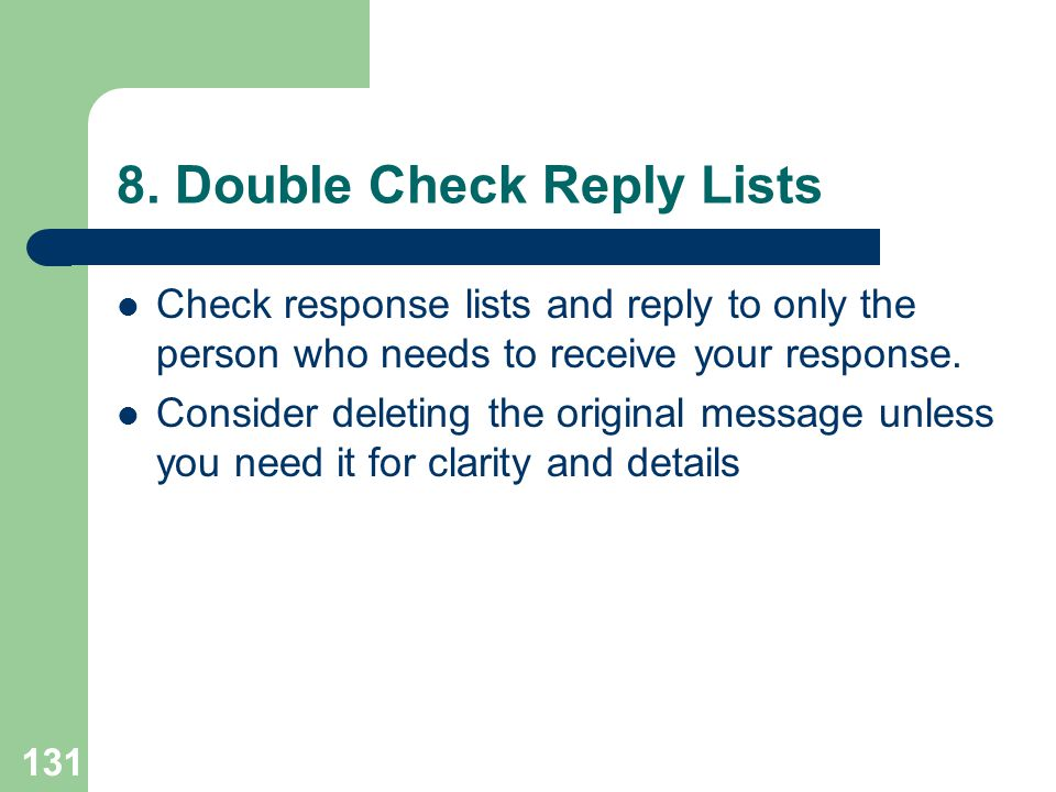 8. Double Check Reply Lists