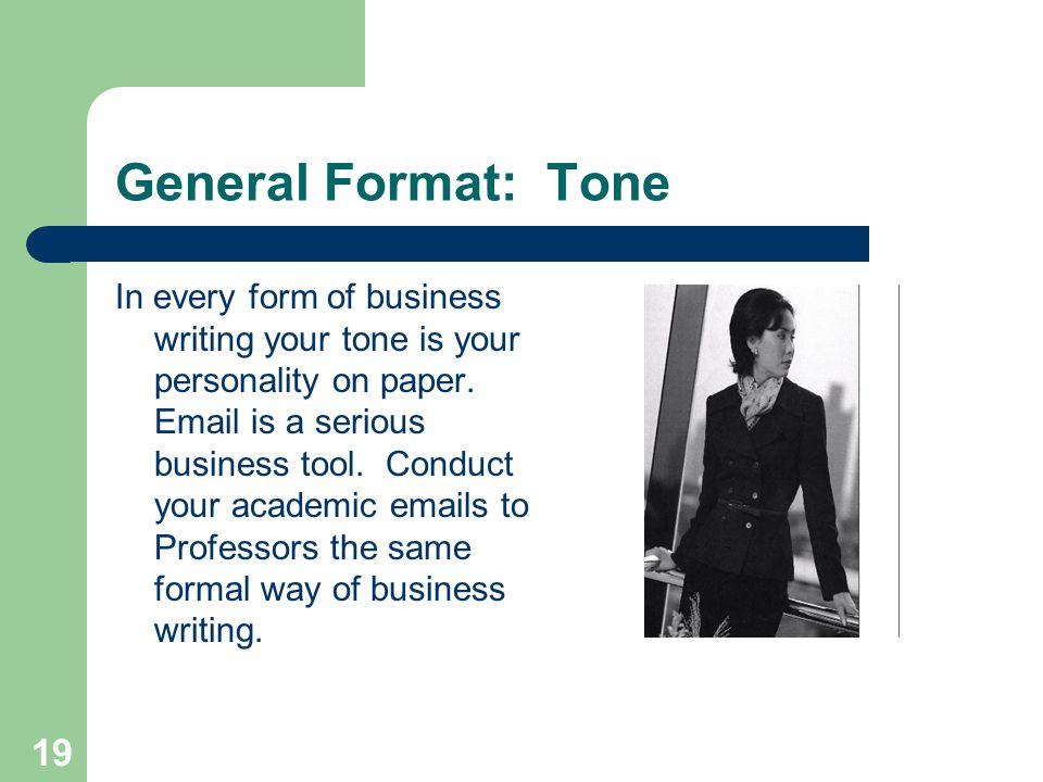 General Format: Tone