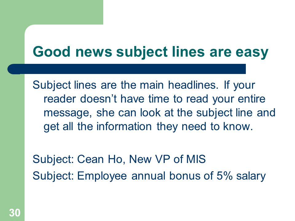 Good news subject lines are easy