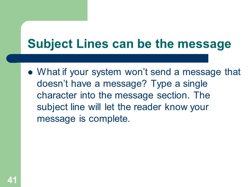 Subject Lines can be the message