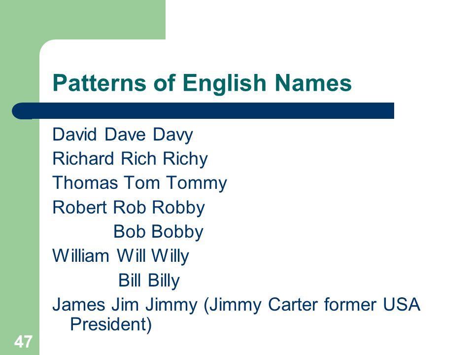 Patterns of English Names